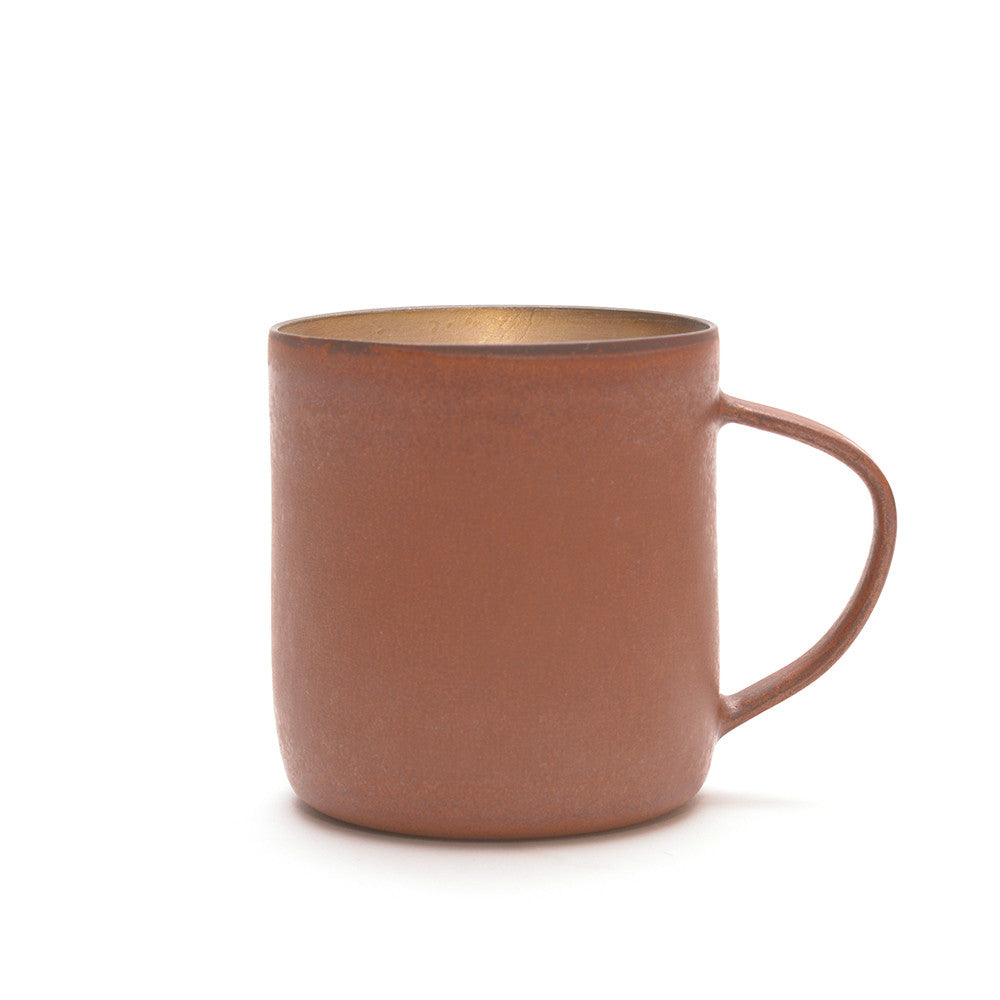 Red Clay and Silver Glaze Mug from side