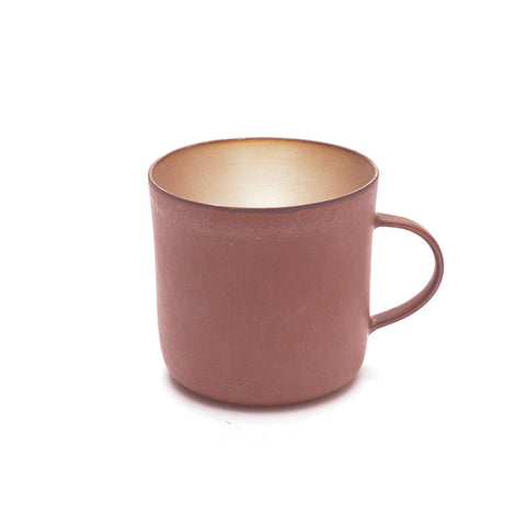 Red Clay and Silver Glaze Mug from slight angle