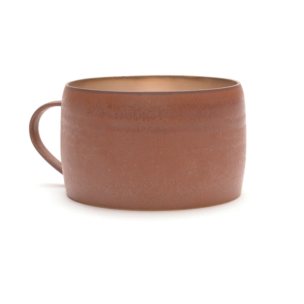 Red Clay and Silver Glaze Mug handle to the left