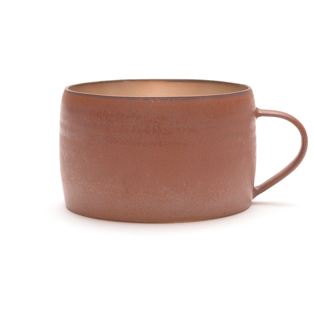 Red Clay and Silver Glaze Mug from the side