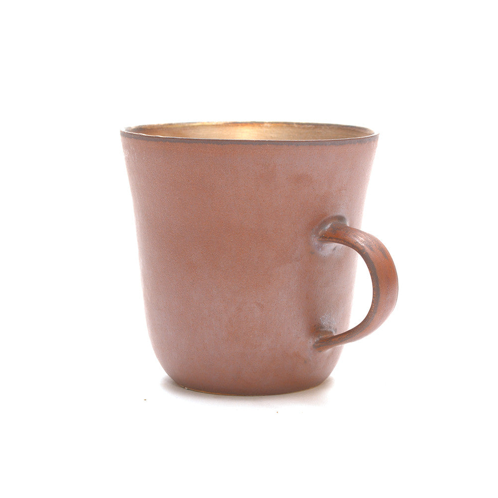 Red Clay and Silver Glaze Mug handle to the right