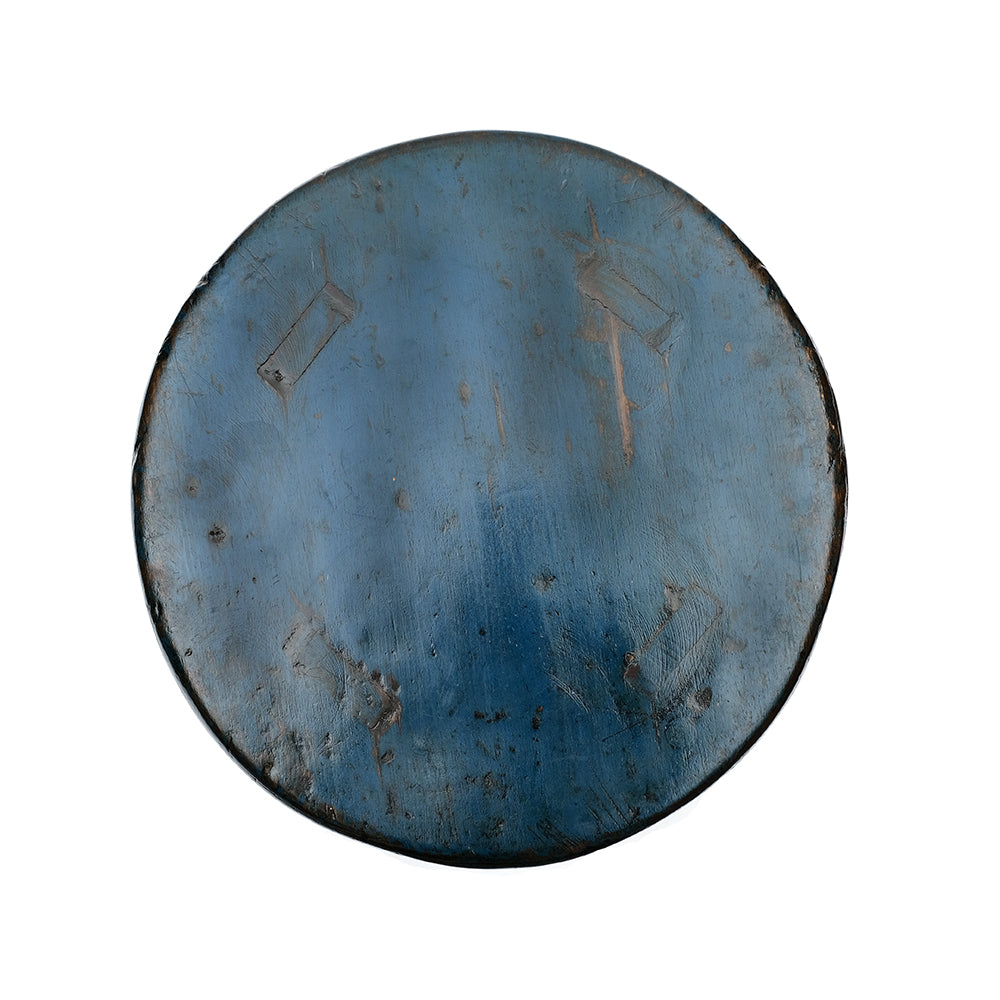 Round Chinese Pine Four-Legged Stool in Dark Blue (No 08) - Chinese homewares- Rouge Shop antique stores London - city furniture