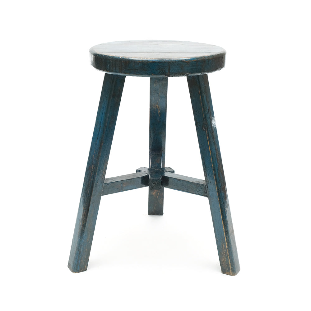 Round Chinese Pine Three-Legged Stool in Blue (No 09) - Chinese homewares- Rouge Shop antique stores London - city furniture