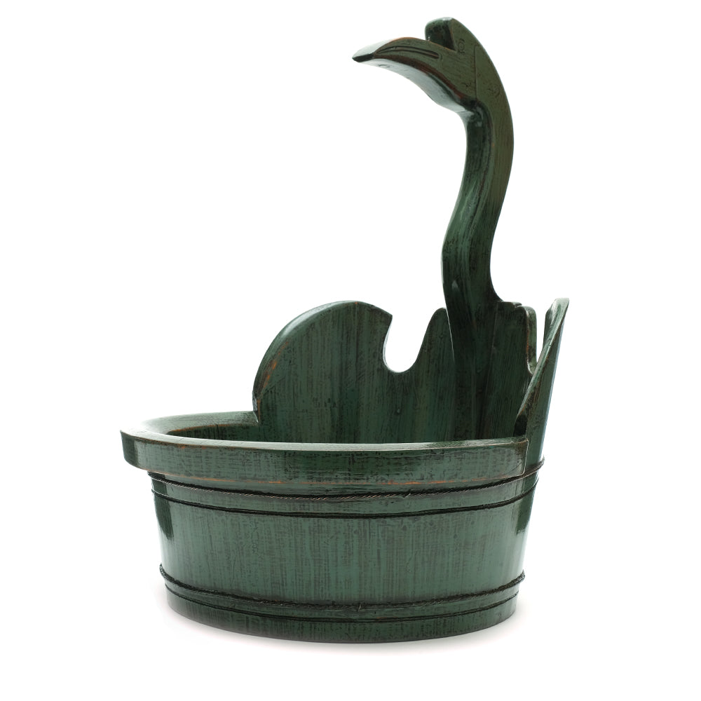 Green Vintage Chinese Swan Wooden Bucket No 02 - Chinese homewares- Rouge Shop antique stores London - city furniture
