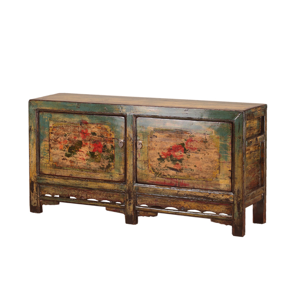 Vintage Sideboard with Peonies from Shandong