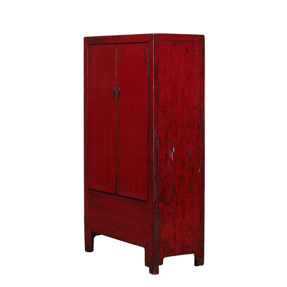 Vintage Tall Dark Red Cabinet from Shanxi Province
