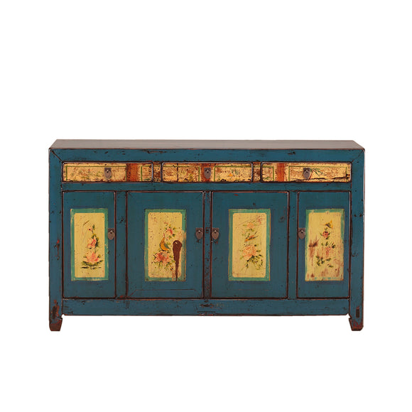 Vintage Blue Sideboard from Shanxi with Floral Motifs
