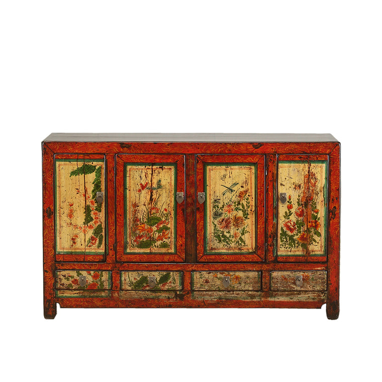 Vintage Dongbei Sideboard with Floral and Fauna Motifs