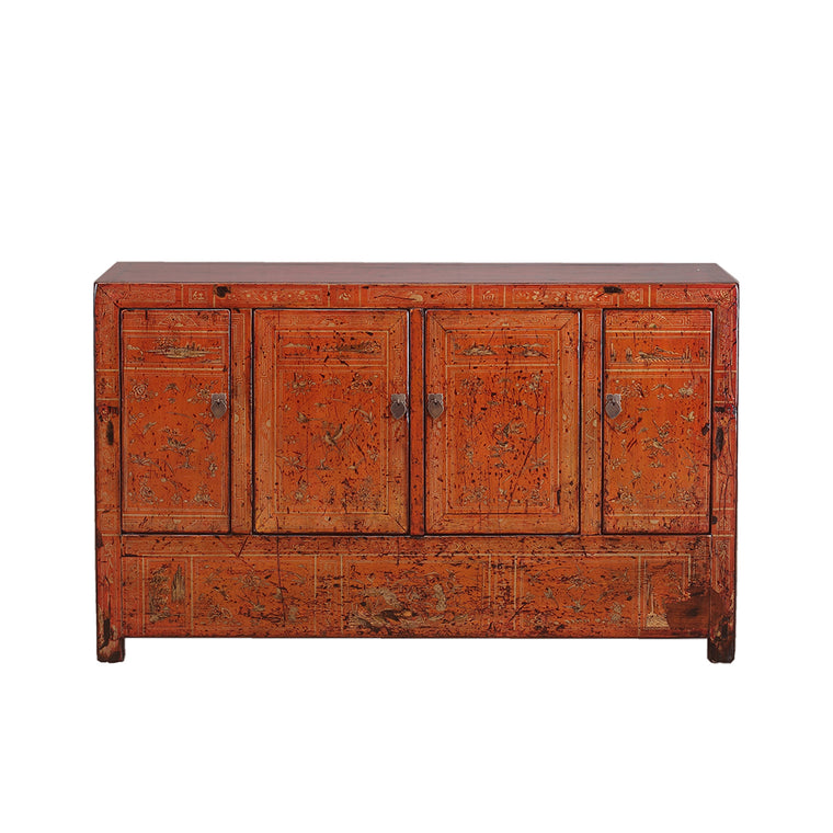 Vintage Russet Decorated Sideboard from Dongbei