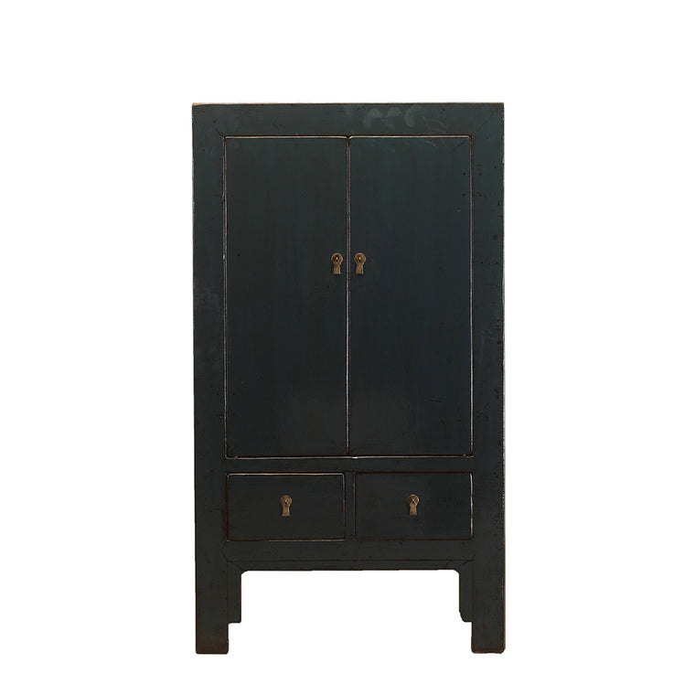 Vintage Tall Dark Grey Cabinet from Shanxi Province