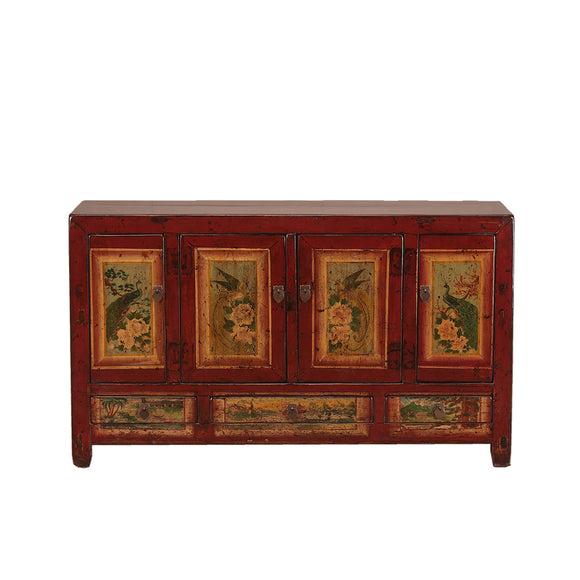 Vintage Sideboard with Peacocks, Fendguang and Peonies from Dongbei