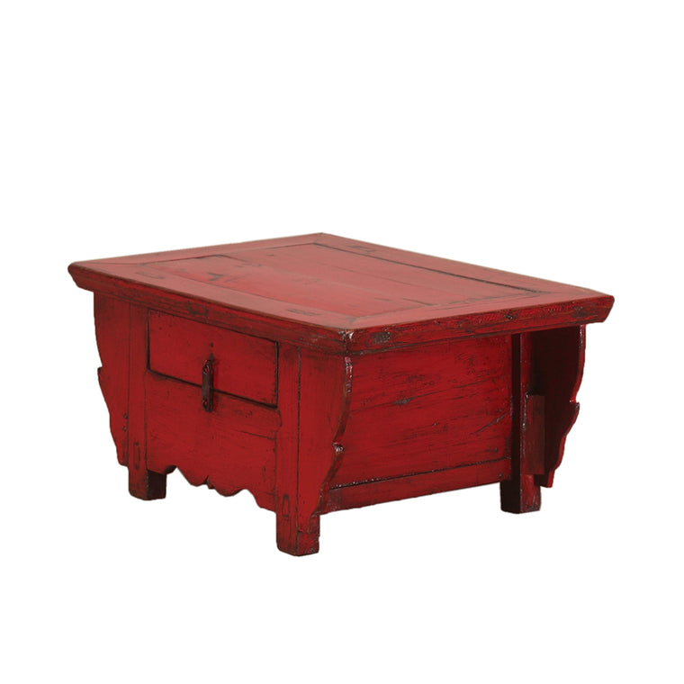 Vintage Red Chinese Kang Table from Shanxi