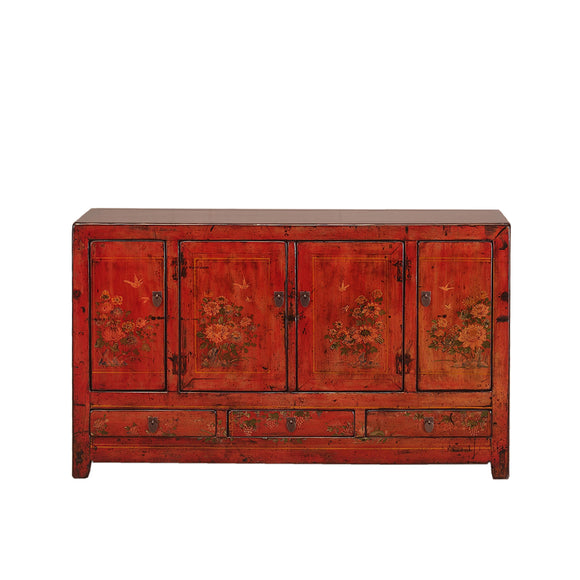 Vintage Red Sideboard from Shandong with Peonies, Butterflies and Birds
