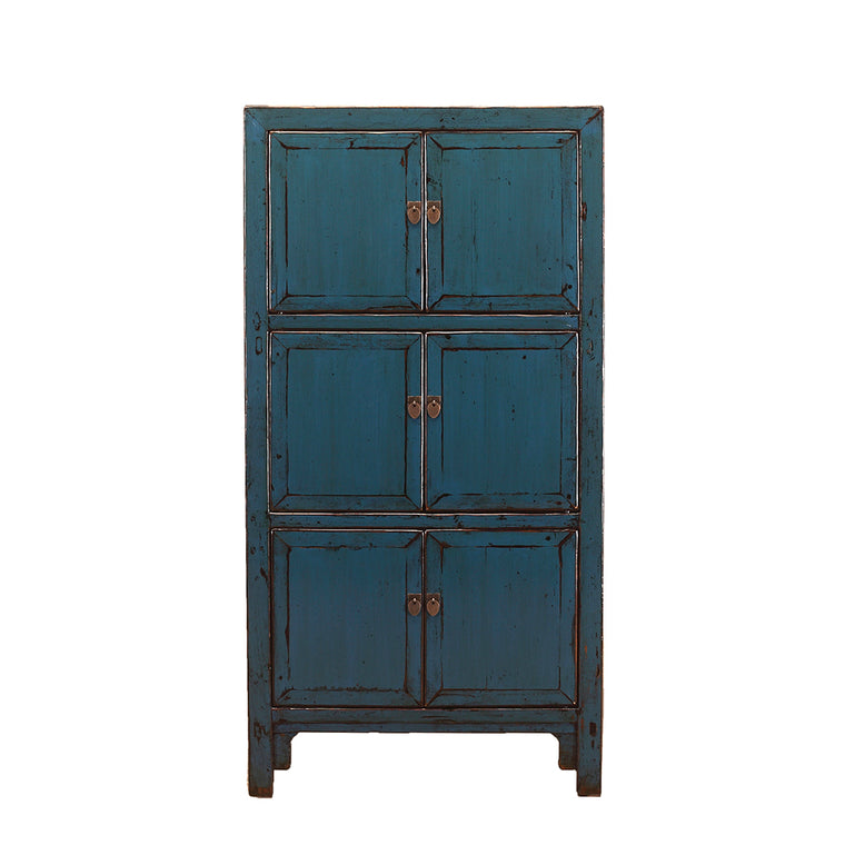 Vintage Tall Deep Blue Cabinet from Shanxi