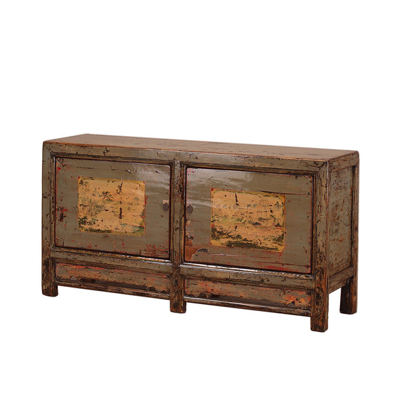 Vintage Chinese Two-Door Sideboard with Faded painting
