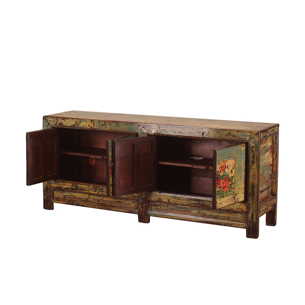 Vintage Chinese Sideboard from Shanxi with Peonies