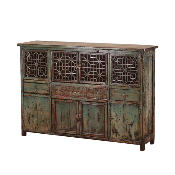 Vintage Chinese Lattice-Fronted Cabinet from Hebei Province