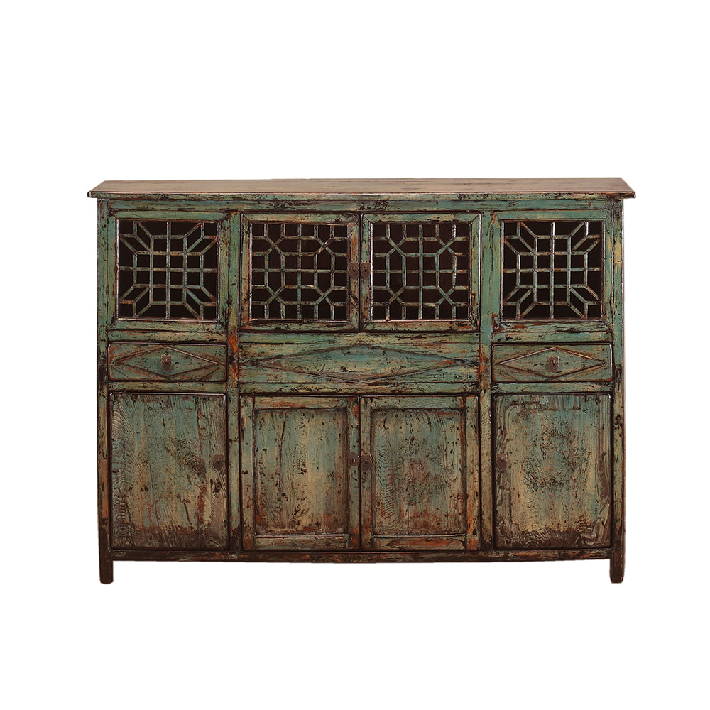Vintage Chinese Lattice-Fronted Sideboard from Gansu