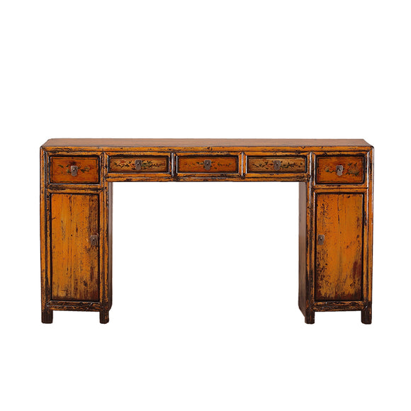 Vintage Orange Chinese Desk from Shandong