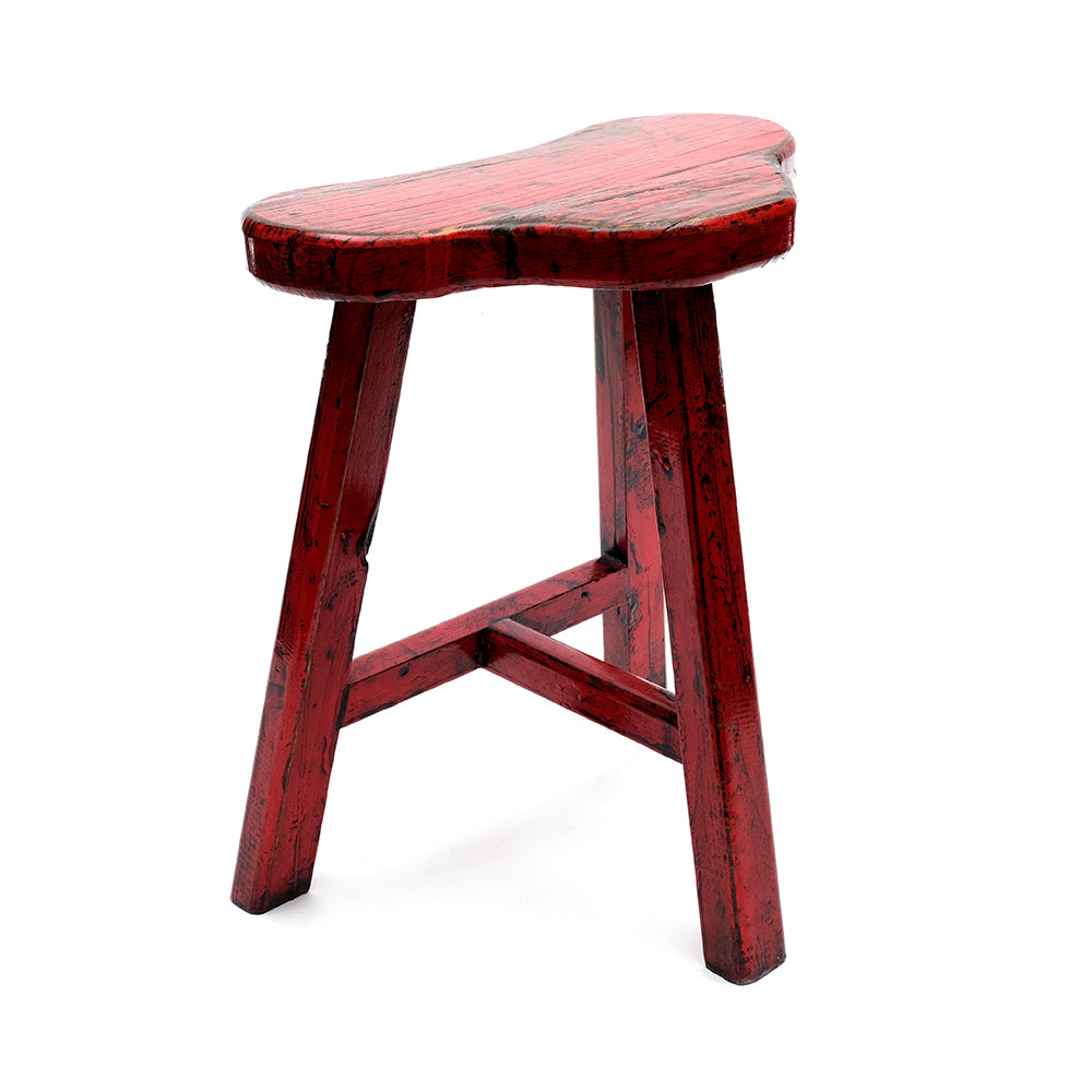 Chinese Pine Three-Legged Saddle Seat Stool in Red (No 06) - Chinese homewares- Rouge Shop antique stores London - city furniture