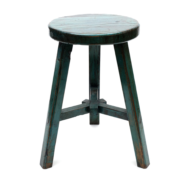 Round Chinese Pine Three-Legged Stool in Teal (No 07) - Chinese homewares- Rouge Shop antique stores London - city furniture