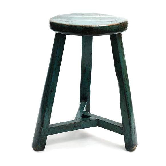 Round Chinese Pine Three-Legged Stool in Teal (No 10) - Chinese homewares- Rouge Shop antique stores London - city furniture