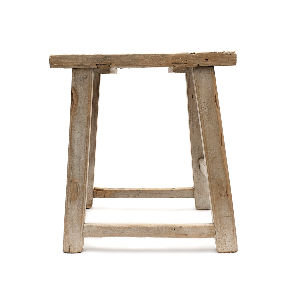 Rustic Elm Chinese Four-Legged Stool (No 11) - Chinese homewares- Rouge Shop antique stores London - city furniture