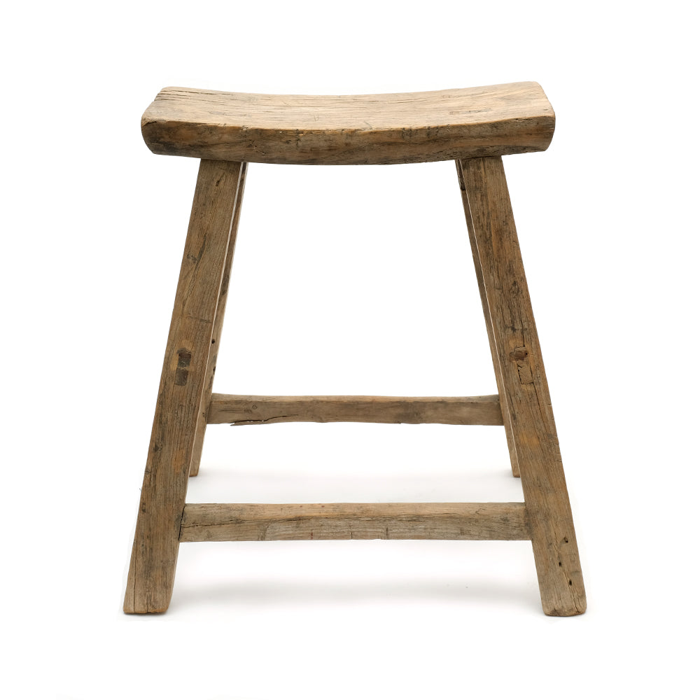 Rustic Elm Chinese Four-Legged Stool (No 12) - Chinese homewares- Rouge Shop antique stores London - city furniture