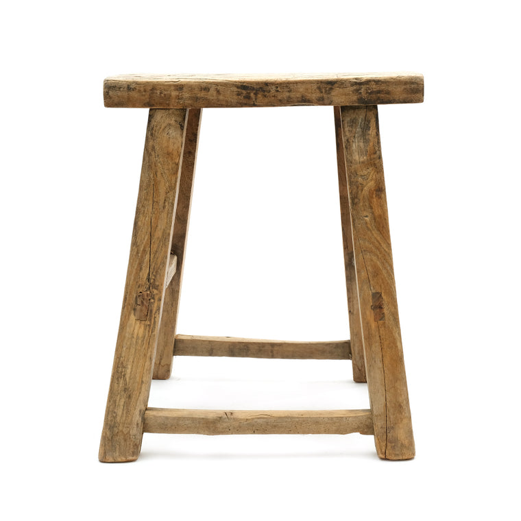 Rustic Elm Chinese Four-Legged Stool (No 13) - Chinese homewares- Rouge Shop antique stores London - city furniture