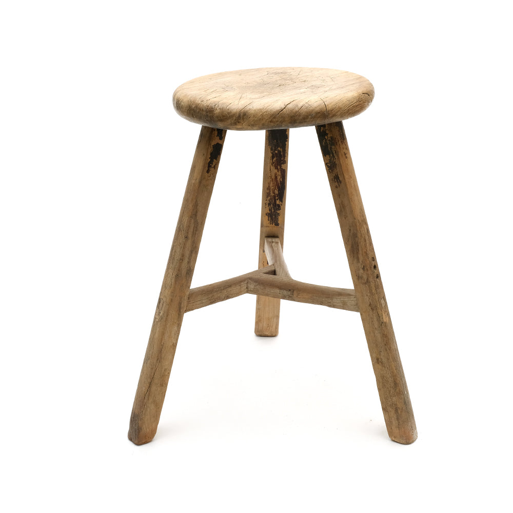 Rustic Wooden Chinese Stool - Round (No 14) - Chinese homewares- Rouge Shop antique stores London - city furniture