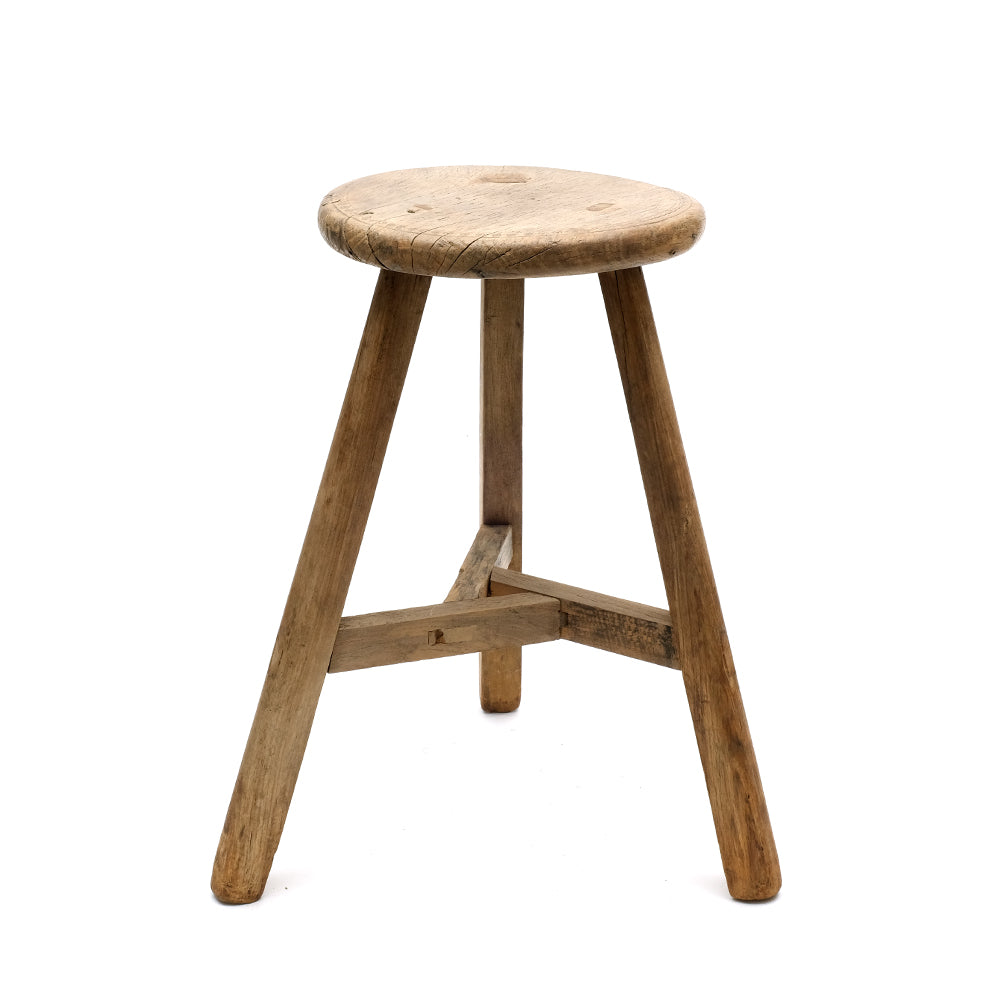 Rustic Wooden Chinese Stool - Round (No 15) - Chinese homewares- Rouge Shop antique stores London - city furniture