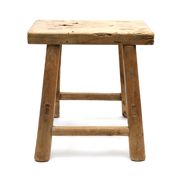 Rustic Elm Chinese Four-Legged Stool (No 16) - Chinese homewares- Rouge Shop antique stores London - city furniture