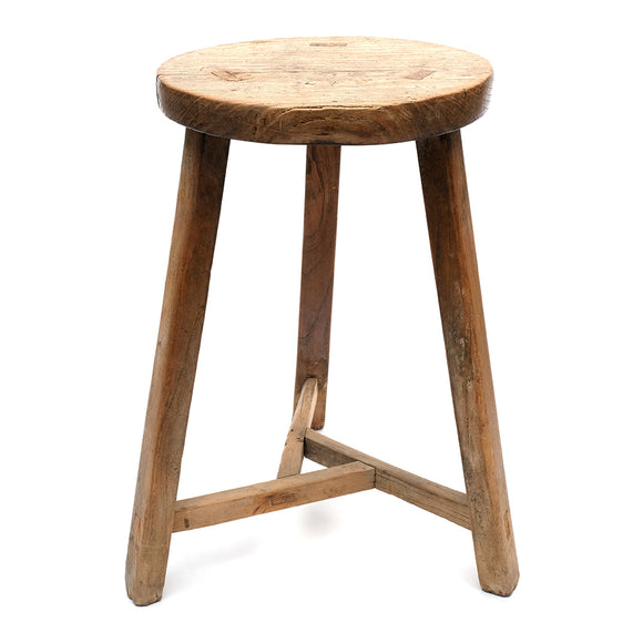 Vintage Rustic Chinese Elm Three-Legged Stool (No 05) - Chinese homewares- Rouge Shop antique stores London - city furniture