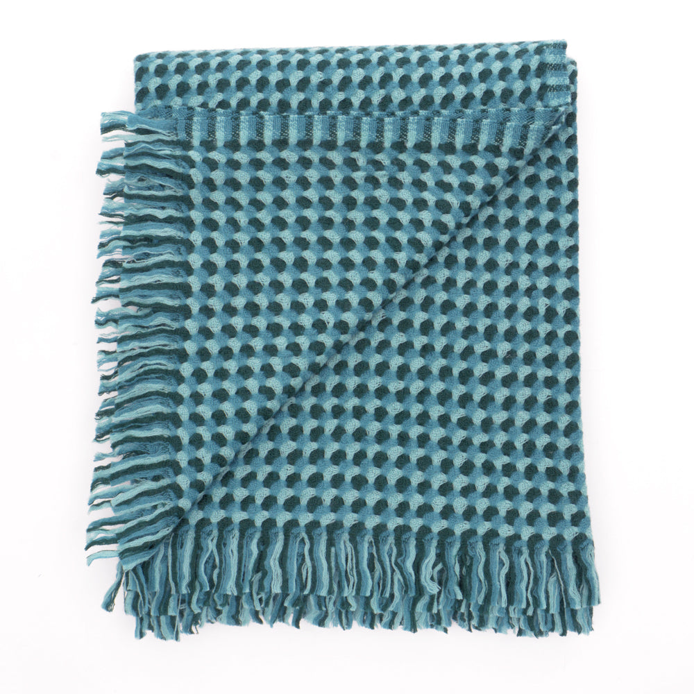 Alva Weave Blanket - Petrol - Chinese homewares- Rouge Shop antique stores London - city furniture