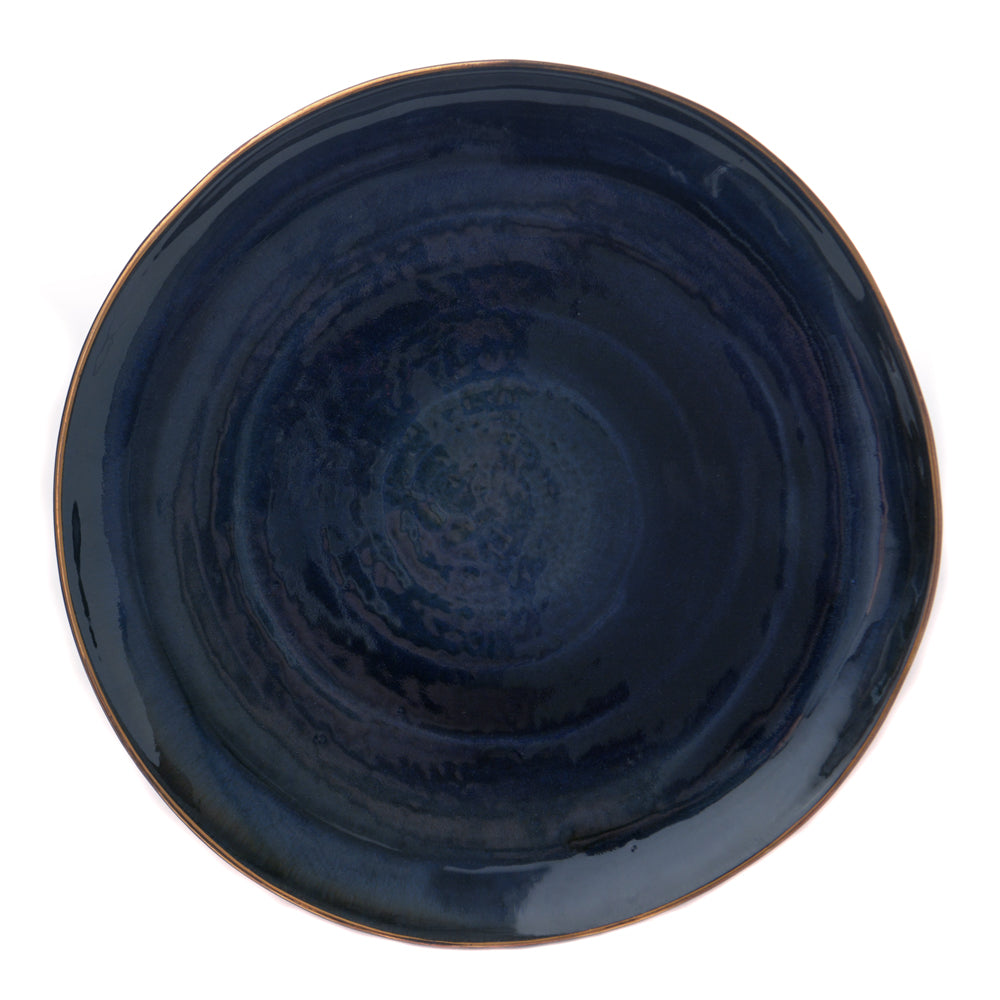 Babylon Dinner Plate - Blue with Gold Rim - Chinese homewares- Rouge Shop antique stores London - city furniture