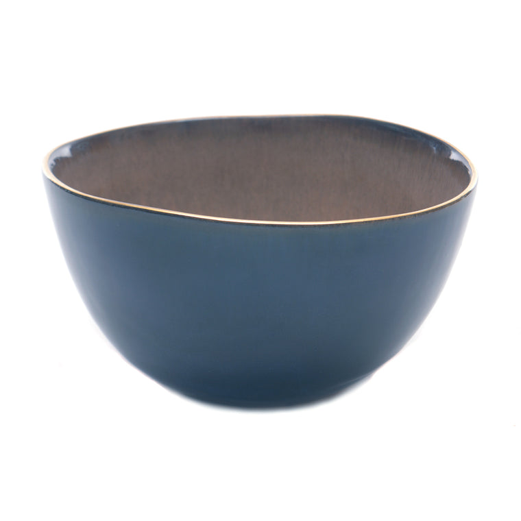 Babylon Shallow Bowl - Blue with Gold Rim - Chinese homewares- Rouge Shop antique stores London - city furniture