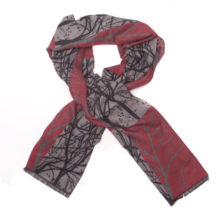 Branch Pattern Rayon Scarf - Red - Chinese homewares- Rouge Shop antique stores London - city furniture