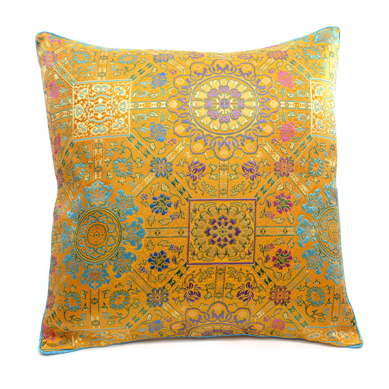 Chinese Cloud Brocade Cushion - Gold - Chinese homewares- Rouge Shop antique stores London - city furniture