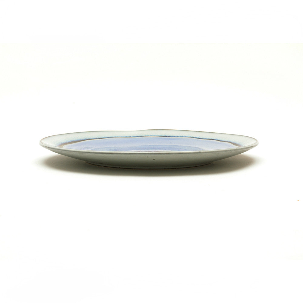 Dakara Ceramic Plate with Mauve Crackle Glaze side view