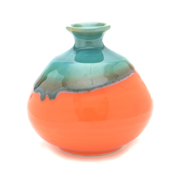 Handmade Japanese Vase - Orange and Green