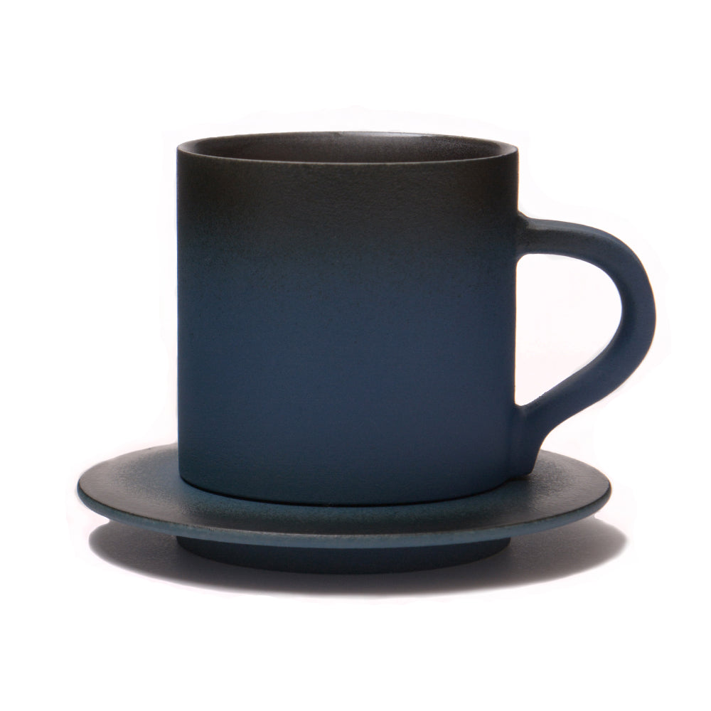 Porcelain Midnight Sky Glaze Coffee Cup and Saucer from Jingdezhen