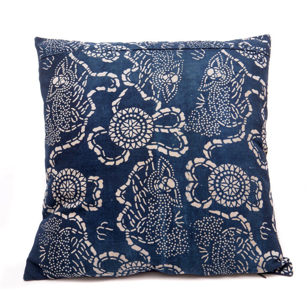 Vintage Indigo Handmade Cushion No 3 - Chinese homewares- Rouge Shop antique stores London - city furniture