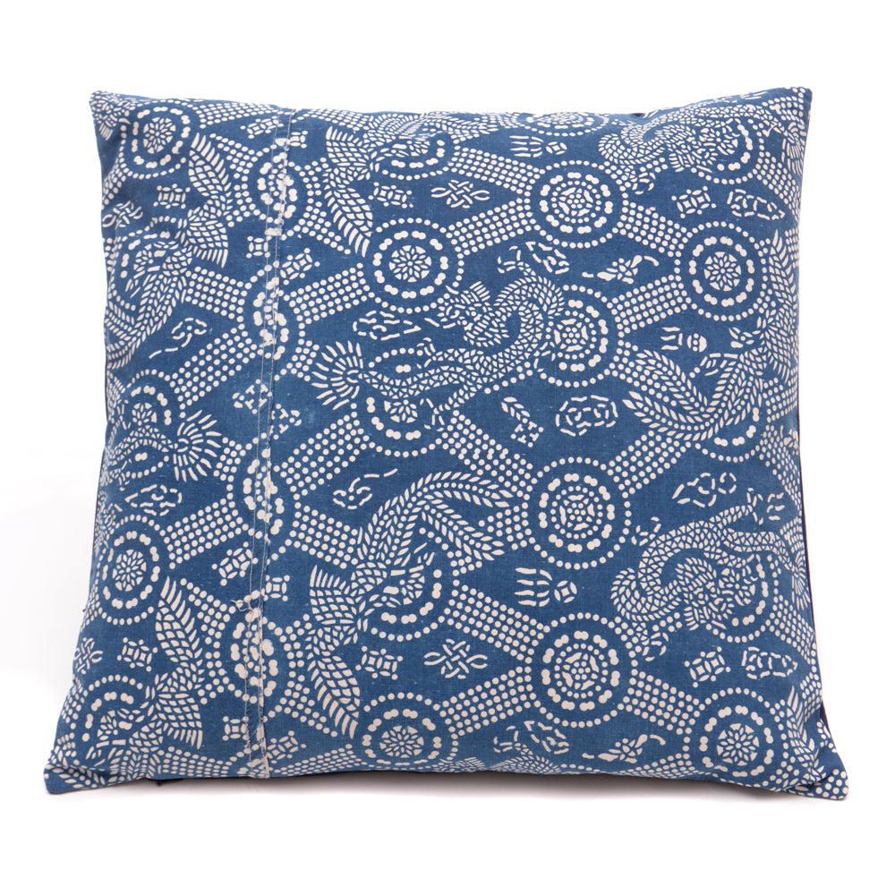 Vintage Indigo Handmade Cushion No 5 - Chinese homewares- Rouge Shop antique stores London - city furniture