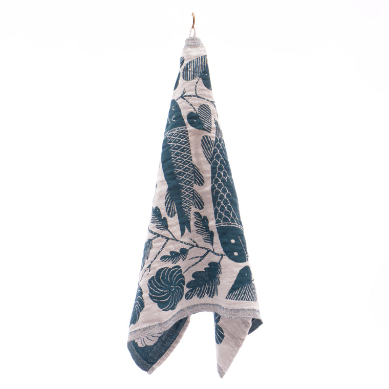 Kala Fish Motif Linen Tea Towel from Lapuan - Petrol - Chinese homewares- Rouge Shop antique stores London - city furniture