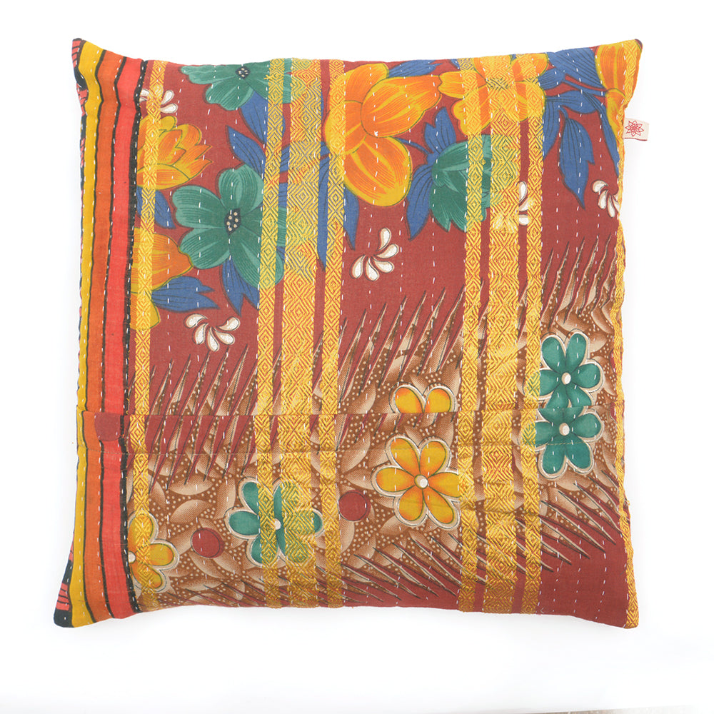 Vintage Cotton Kantha Stitch Cushion -  Blue, Green and Yellow Flowers