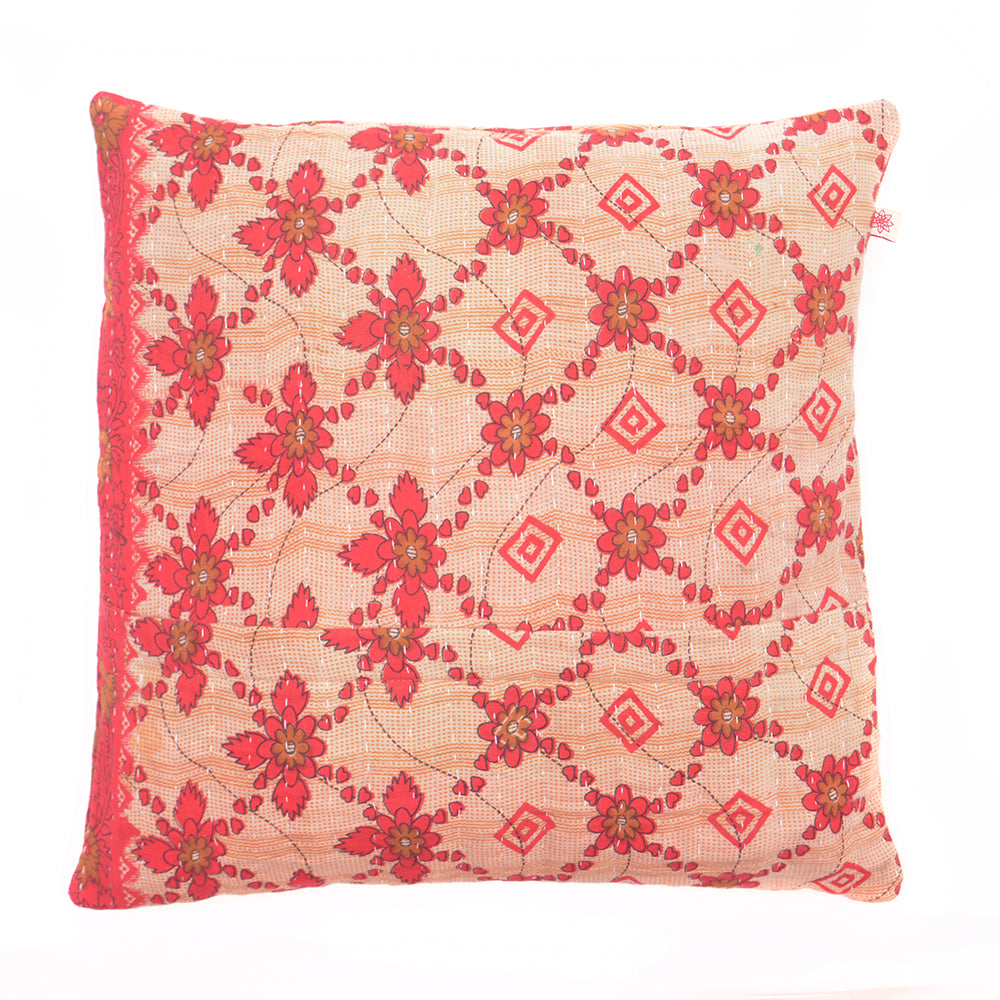 Vintage Cotton Kantha Stitch Cushion -  Red Flowers and Hearts Pattern