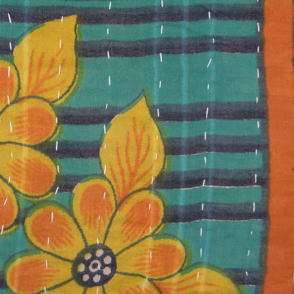 Vintage Cotton Kantha Stitch Cushion -  Turquoise with Yellow Flowers Pattern