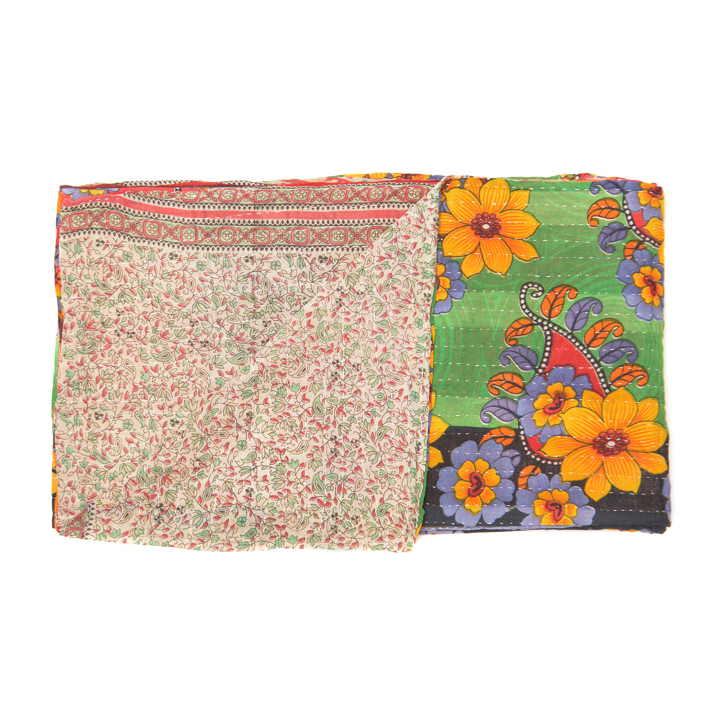 Vintage Cotton Kantha Stitch Throw - No 3