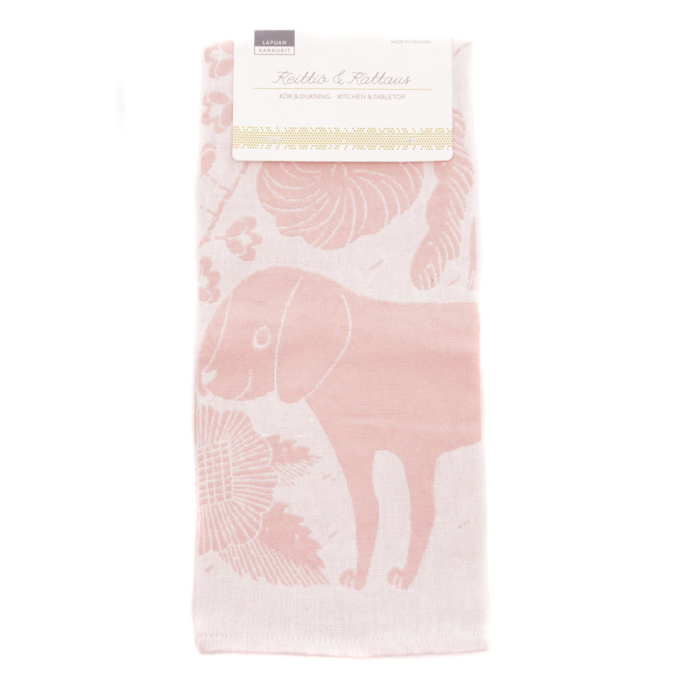 Koira Dog and Cat Tea Towel from Lapuan - Pink and White