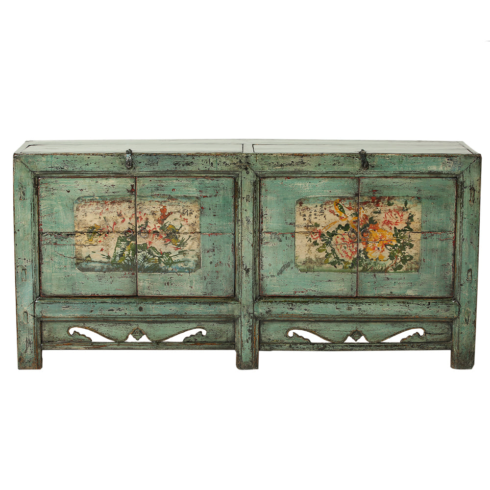 Vintage Green Sideboard from Gansu with Floral Motifs - Chinese homewares- Rouge Shop antique stores London - city furniture